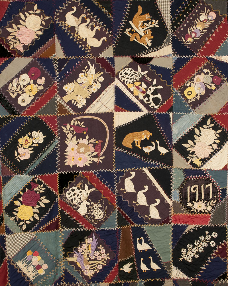 Detail of a Crazy Quilt by Mittie Belle Agner Barrier  showing farm/Easter  themes.